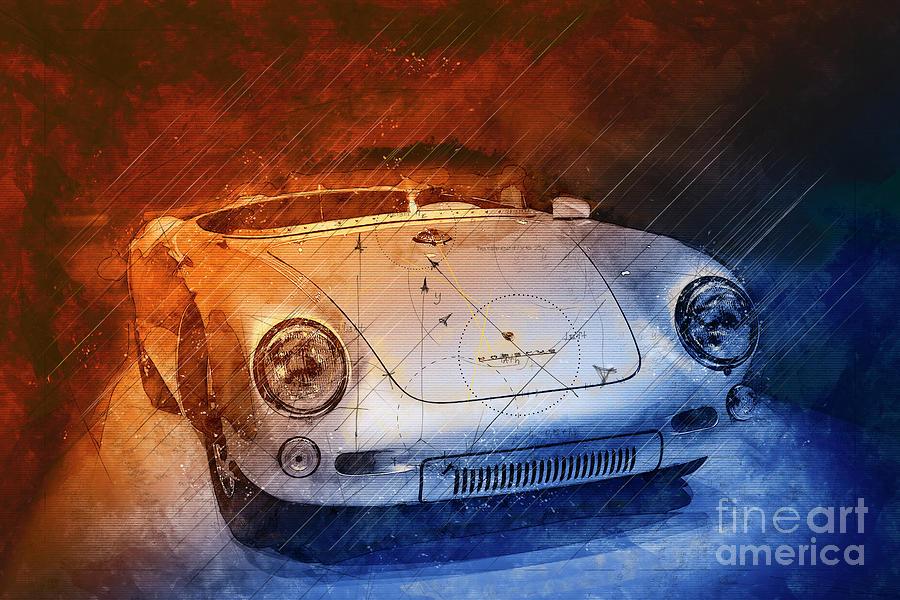 Porsche 550 Digital Art - Porsche 550 RS Spyder 1955 by Stefano Senise