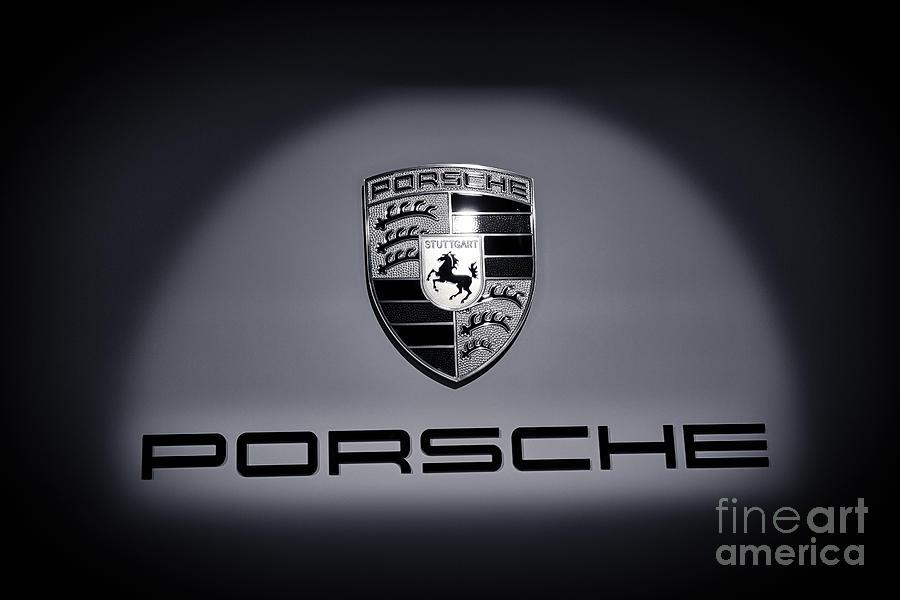 Porsche 911 Photograph - Porsche Car Emblem isolated BW 2 by Stefano Senise