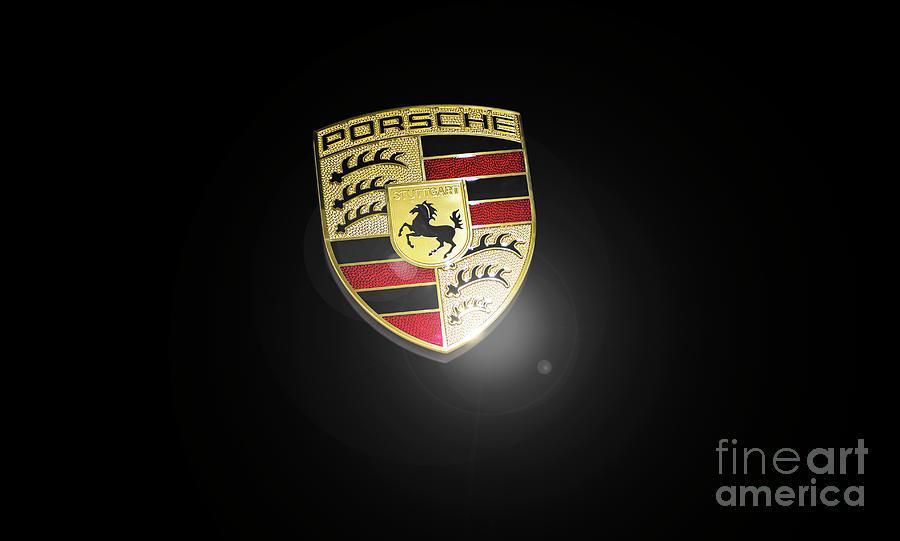 Porsche 911 Photograph - Porsche Car Emblem isolated by Stefano Senise