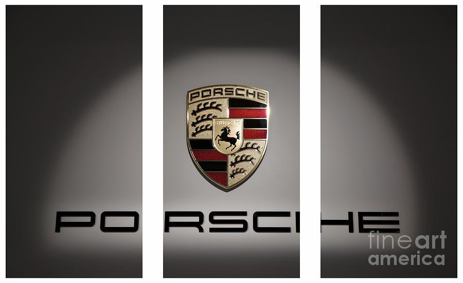 Porsche Photograph - Porsche Car Emblem Triptych by Stefano Senise