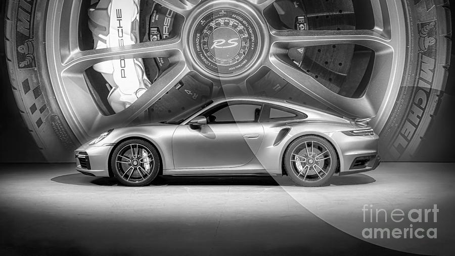 Porsche Photograph - Porsche Poster Wall Art Black and White by Stefano Senise
