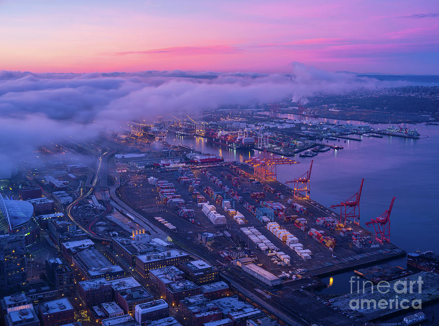 Port Of Seattle Sunrise Clouds Photograph