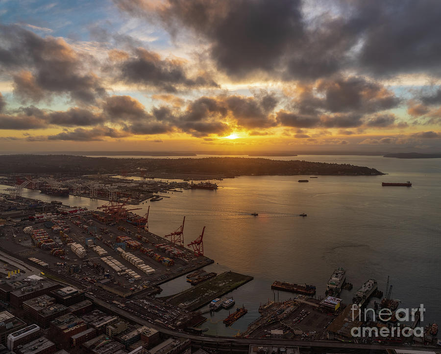Port Of Seattle Sunset Skies Photograph