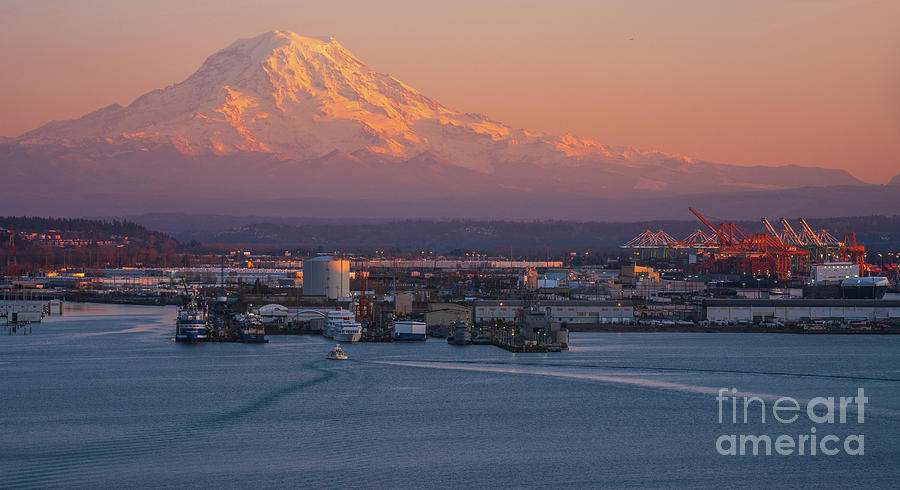 Port of Tacoma and Mount Rainier at Dusk by Mike Reid