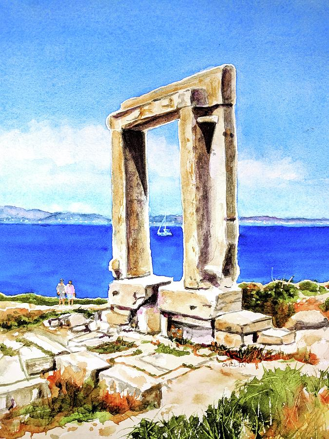 Island Painting - Portara Apollo Temple Naxos Greece by Carlin Blahnik CarlinArtWatercolor