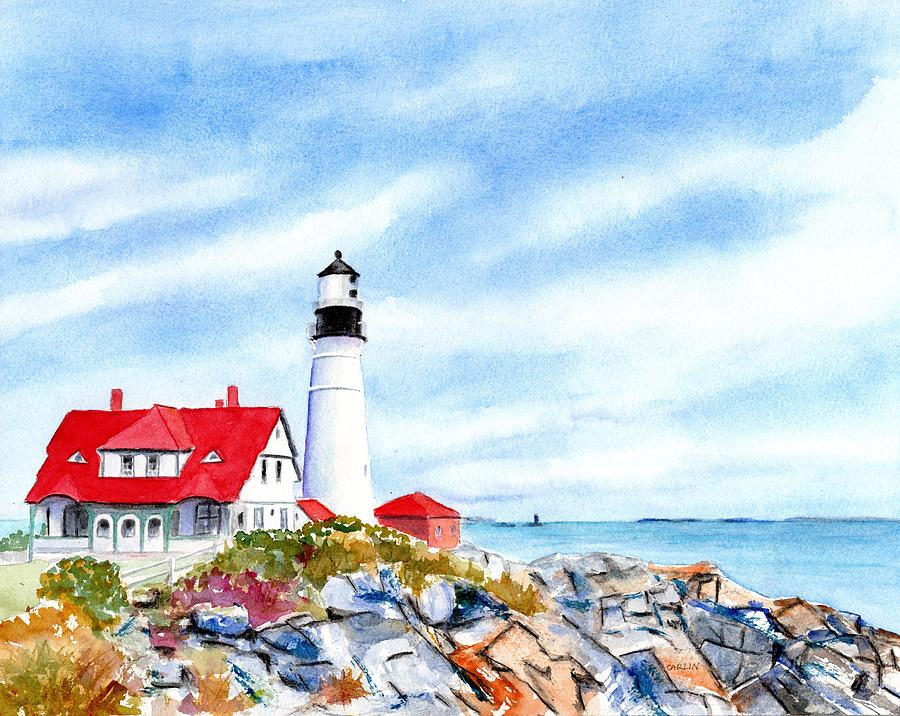 Portland Head Lighthouse Maine by Carlin Blahnik CarlinArtWatercolor