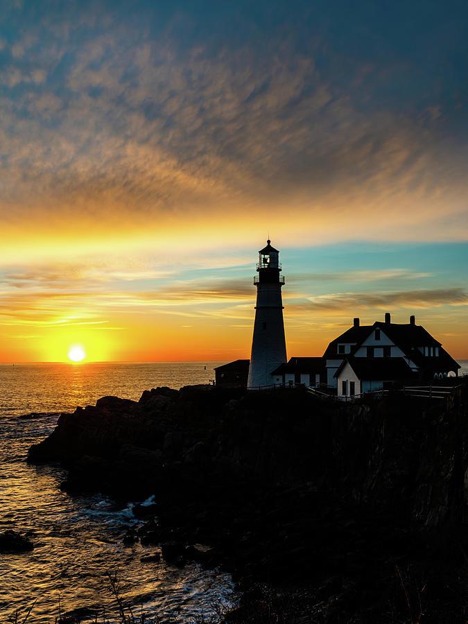Portland Headlight Sunrise Vertical Photograph