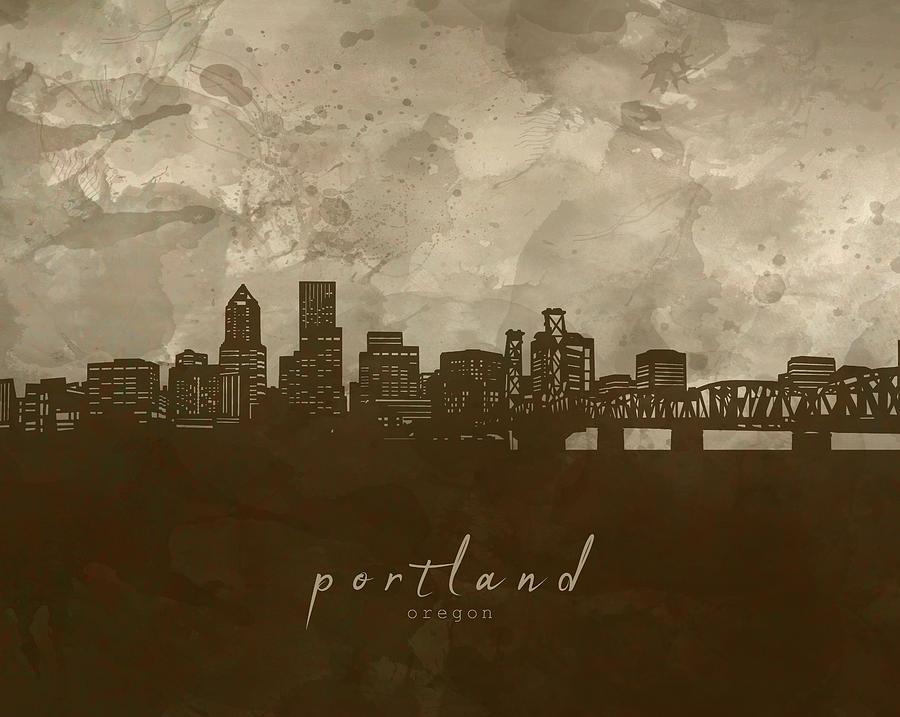 Portland Skyline Panorama 4 Digital Art