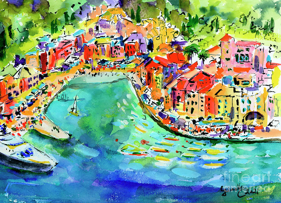 Portofino Summer Fun with Boats and Street Cafes Painting by Ginette Callaway
