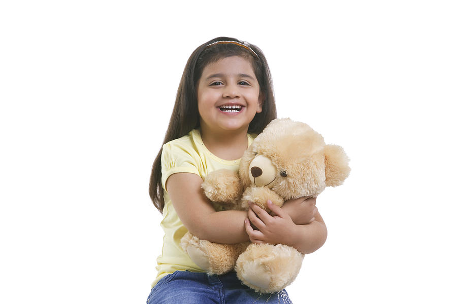 Portrait of a little girl with a teddy bear Photograph by Sudipta Halder