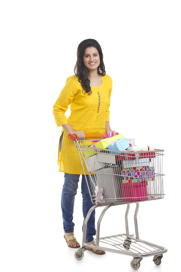 Portrait of a woman with shopping cart Photograph by Sudipta Halder