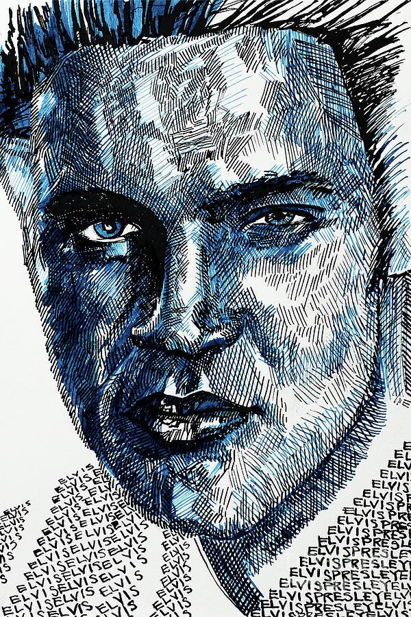 Portrait Of Elvis Presley Drawing