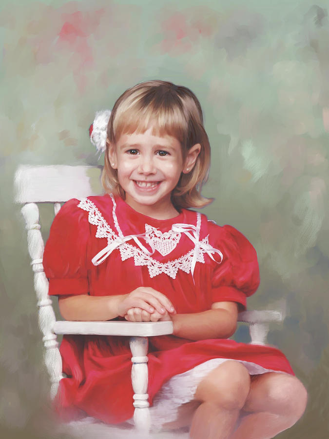 Portrait Of Girl On Rocking Chair Painting