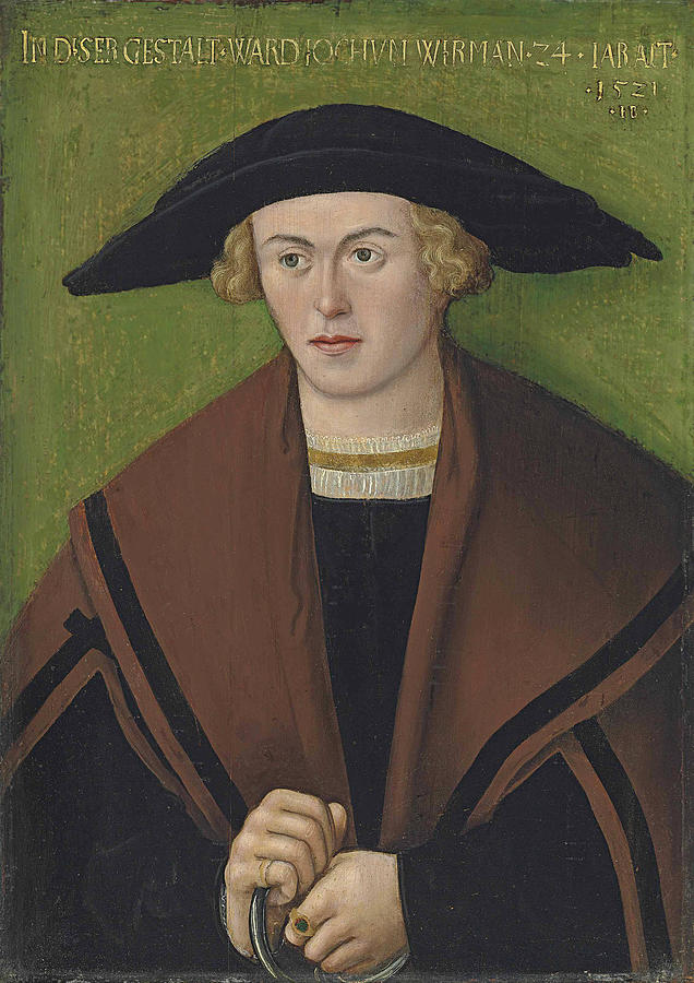 Portrait of Jochum Wirman, half-length, in black robes and a brown cloak, wearing a hat by Hans Brosame
