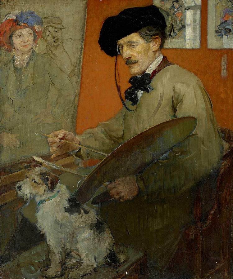 Ernest Johnson Painting - Portrait Of The Artist And His Dog by Ernest Borough Johnson