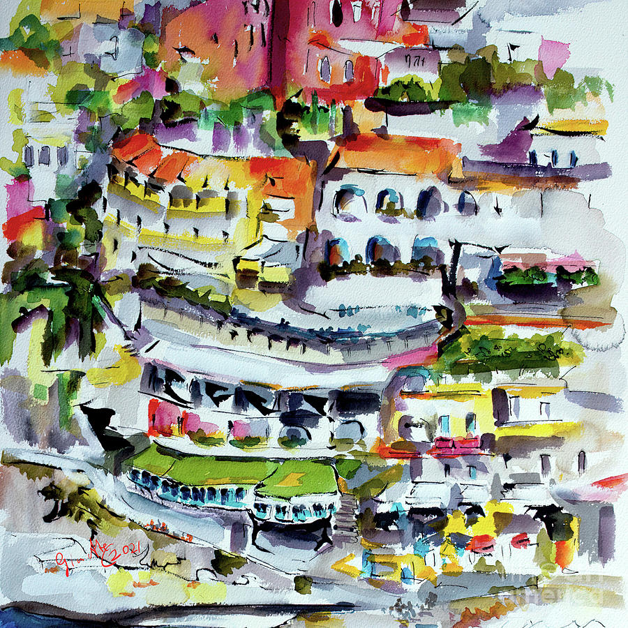 Positano Houses Italy Travel Painting by Ginette Callaway