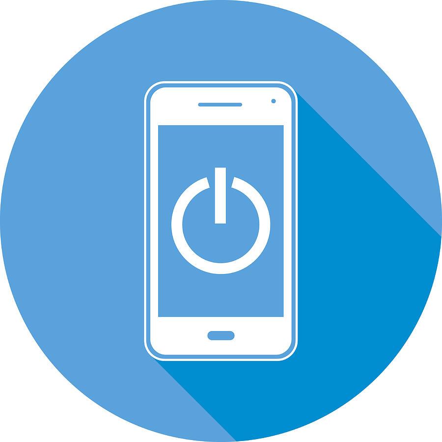 Power Button Smart Phone Round Icon Drawing by RobinOlimb