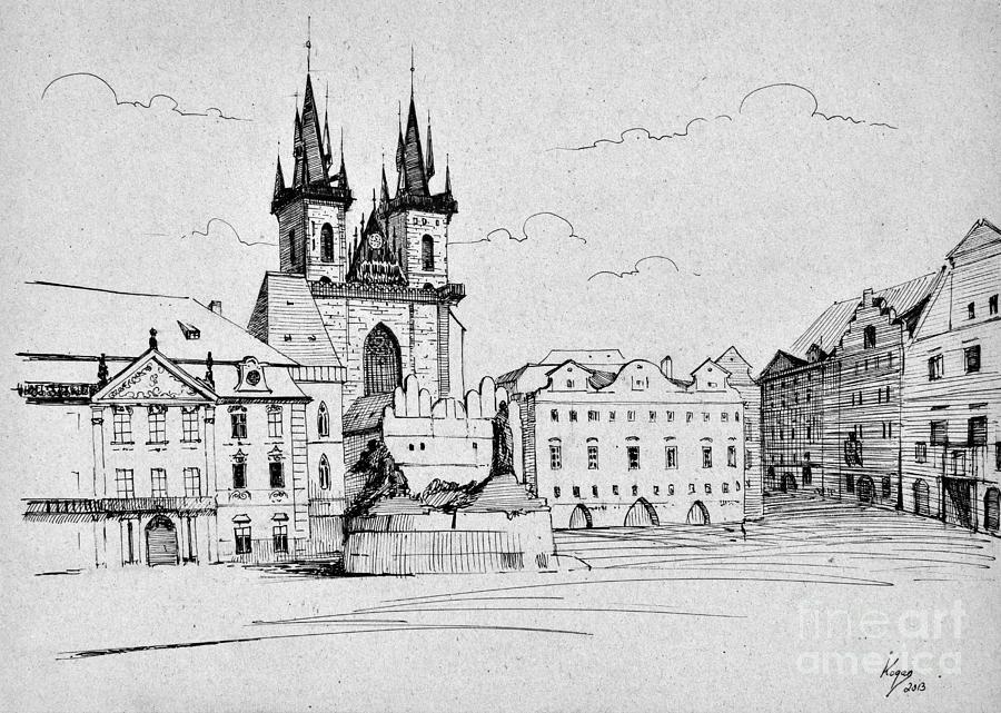 Prague Painting - Prague platz by Igal Kogan