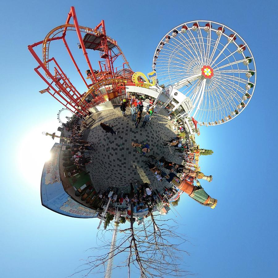 Prater Amusement Park Tiny Planet - Vienna - Austria Photograph