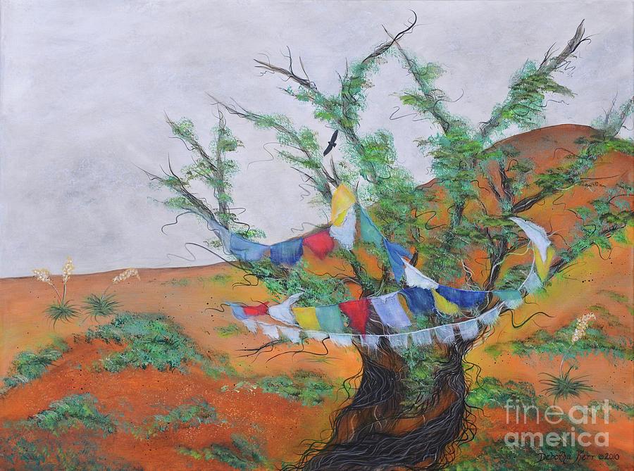 Deborha Kerr Painting - Prayer Flags by Deborha Kerr