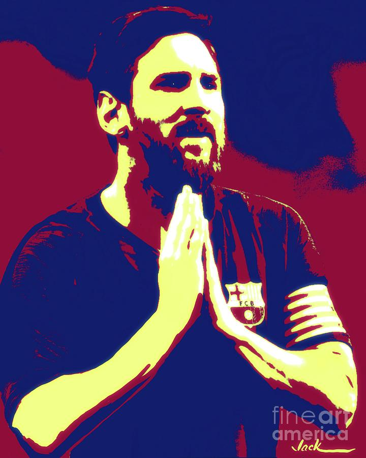 Messi Painting - Prayerful Messi by Jack Bunds