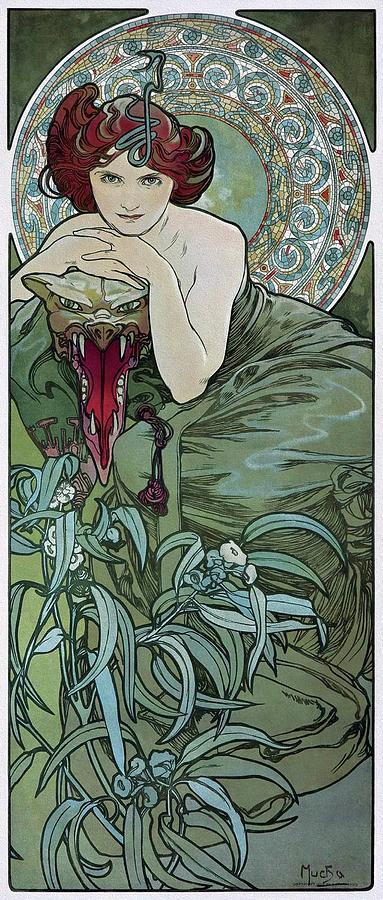 Art Nouveau Style Painting - Precious Stones 1902 Mucha Art Nouveau Poster by Alphonse Mucha