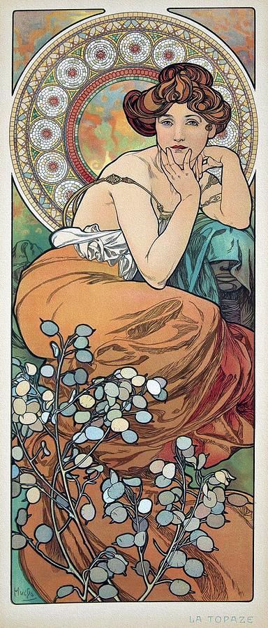 Alphonse Mucha Painting - Precious Stones  La Topaze 1902 Mucha Art Noveau Poster by Alphonse Mucha