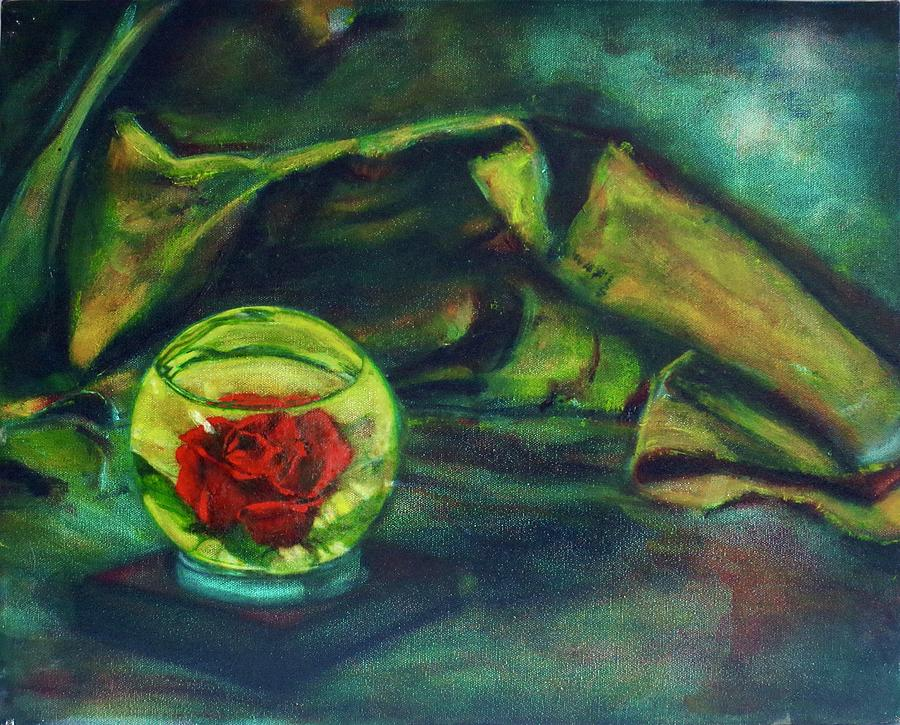 Still Life Painting - Preserved Rose . . Draped Canvas by Sean Connolly