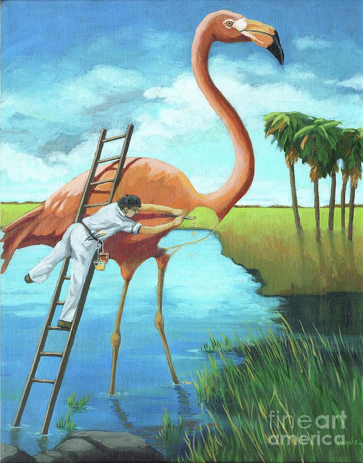 Flamingo Painting - Preserving Wildlife by Linda Apple