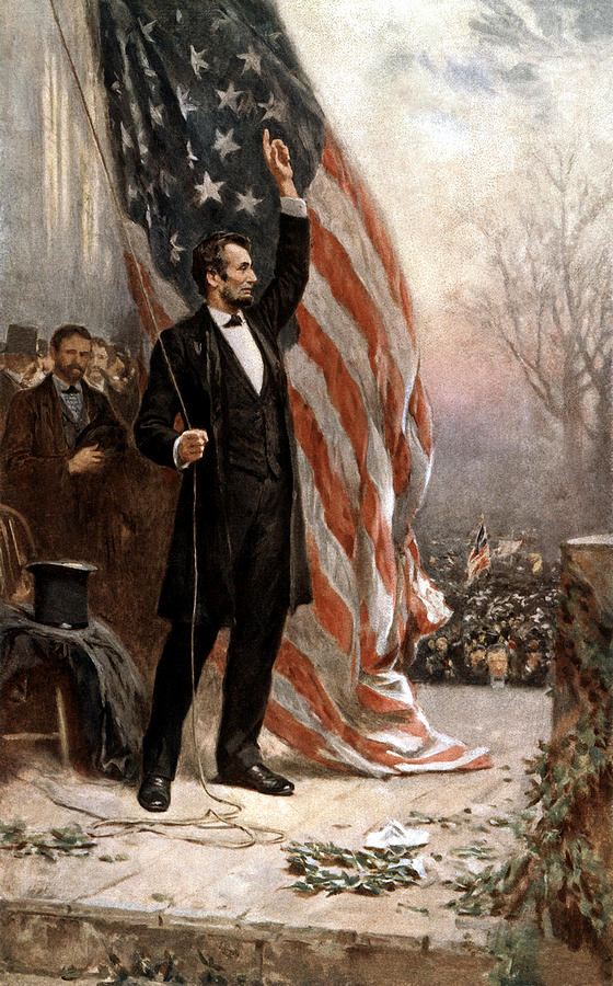 Abraham Lincoln Painting - President Abraham Lincoln Giving A Speech by War Is Hell Store