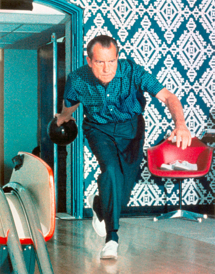 President Nixon Photograph - President Richard Nixon Bowling At The White House - Color Version by War Is Hell Store