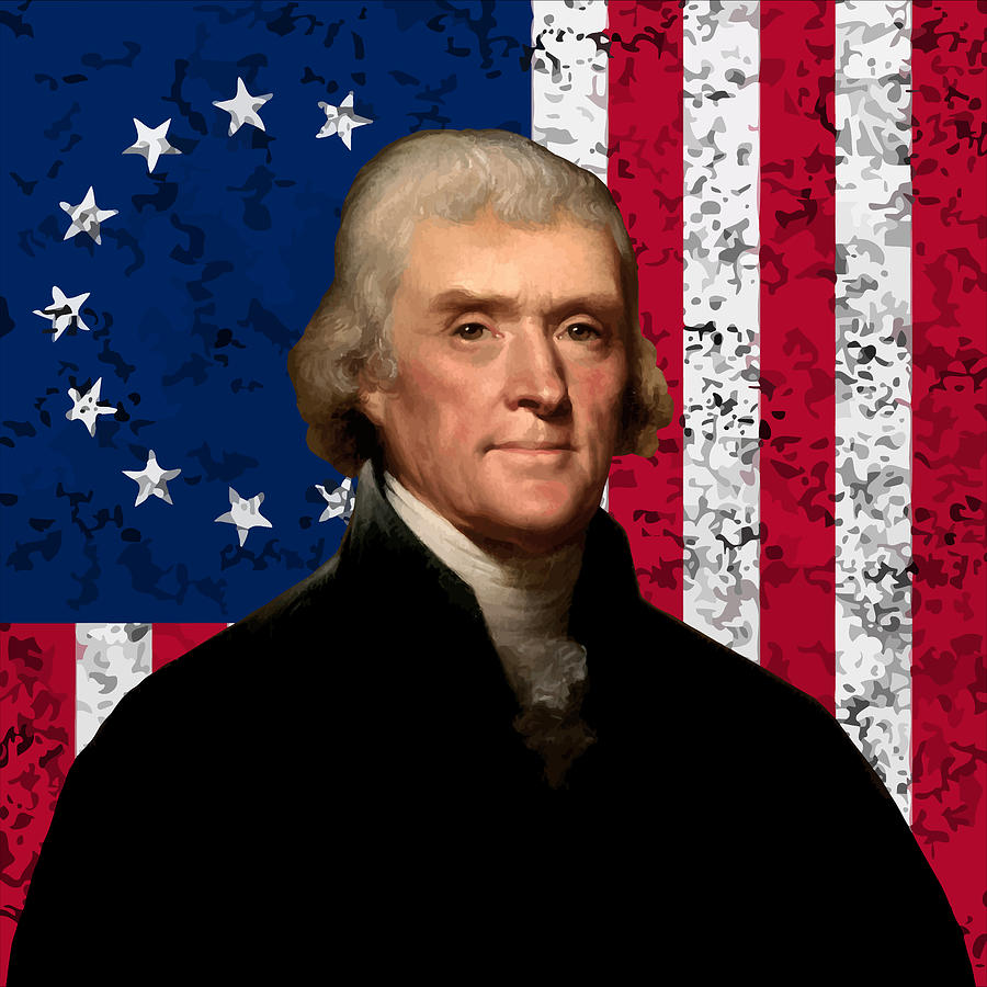 President Thomas Jefferson and The American Flag  by War Is Hell Store