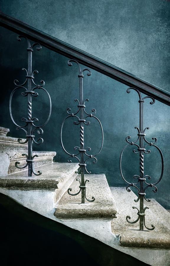 Pretty abandoned blue staircase by Jaroslaw Blaminsky