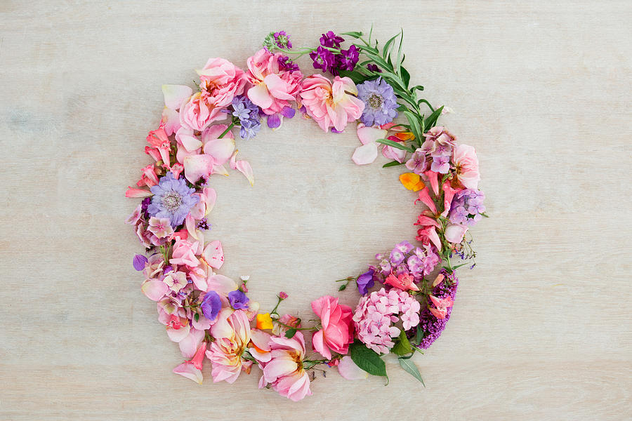 Pretty pastel pink and purple flower wreath Photograph by Matilda Delves