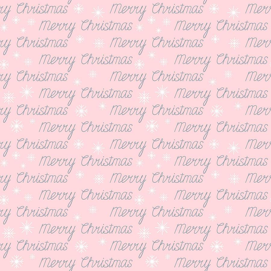 Pink Digital Art - Pretty Pink Merry Christmas Handwriting Pattern by Sweet Birdie Studio