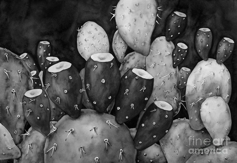 Prickly Pear In Black And White Painting