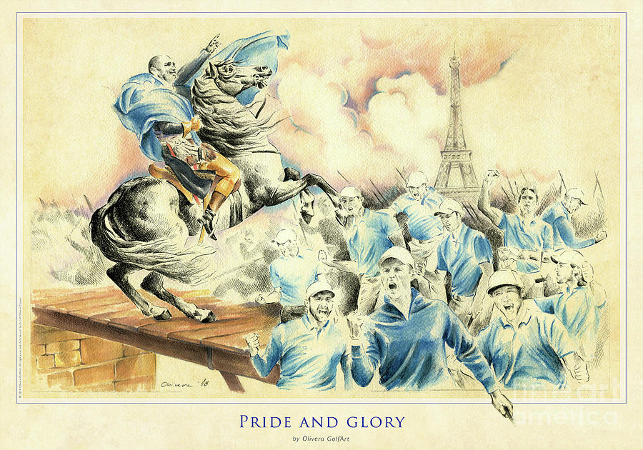 Golfer Painting - Pride And Glory - Poster by Olivera Cejovic