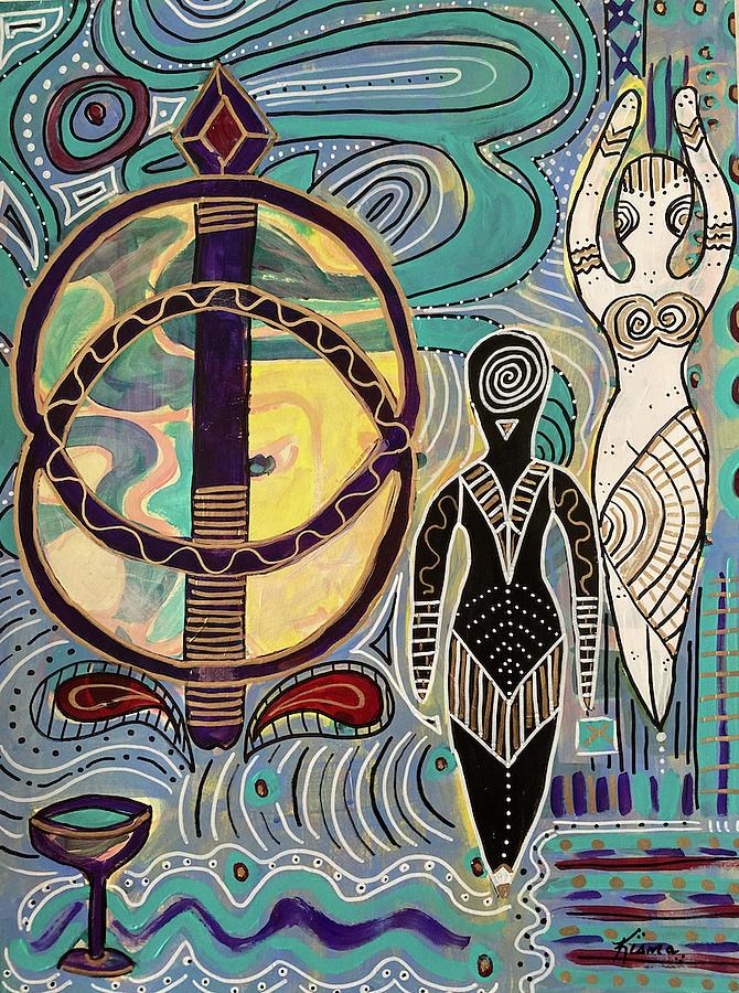 Sacred Painting - Priestess of Chalice Well by Kisma Reidling