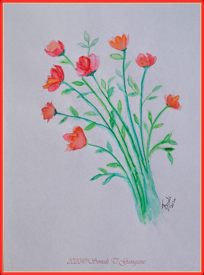 Pristine Peach Florals Painting