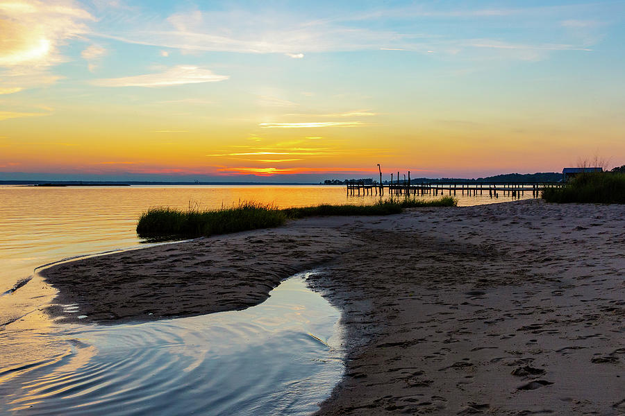 Private Beach And Pier At Sunset Photograph