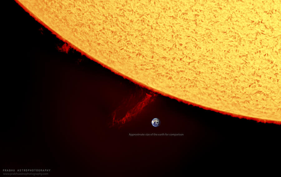 Prominences Photograph - Prominence by Prabhu Astrophotography