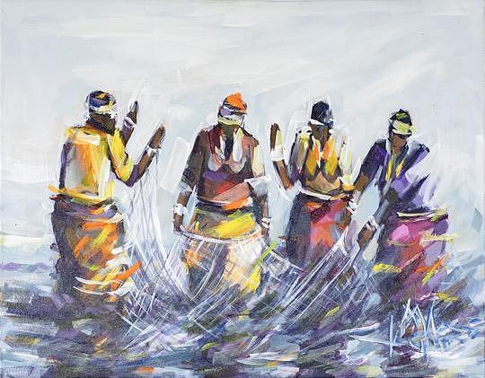 Landscape Painting - Protain Harvesting  by Allen Kupeta