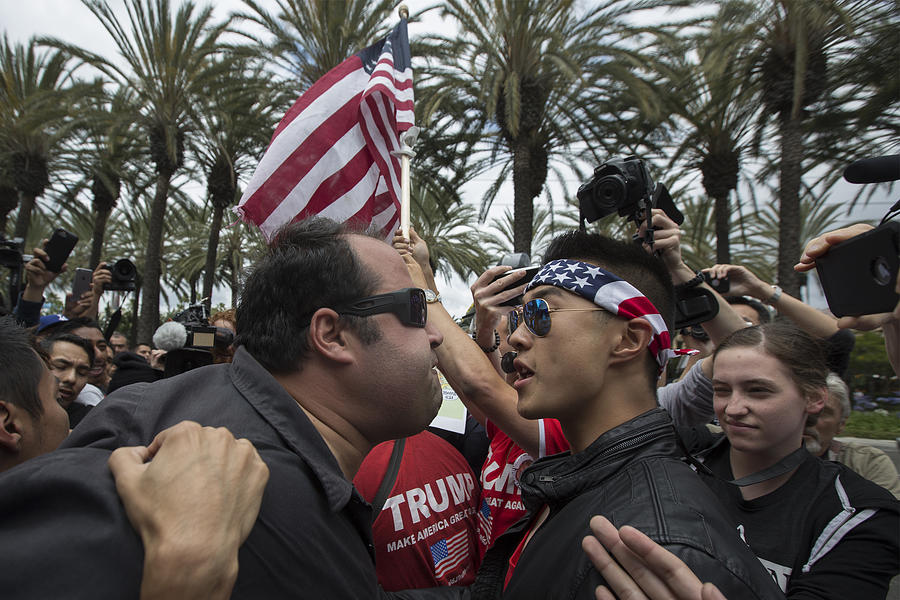 Protestors Rally Outside Trump Campaign Event In Anaheim Photograph by David McNew