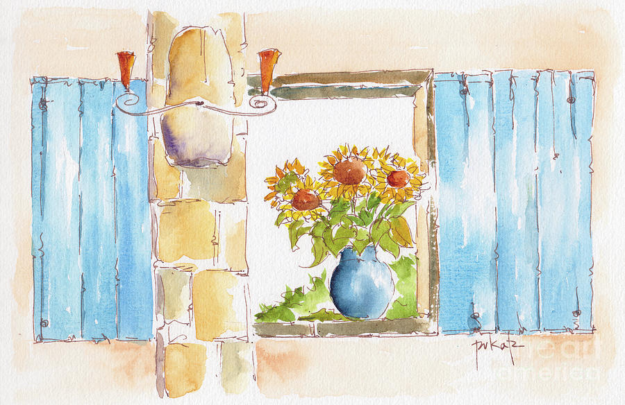 Provencale Sunflowers And Shutters by Pat Katz