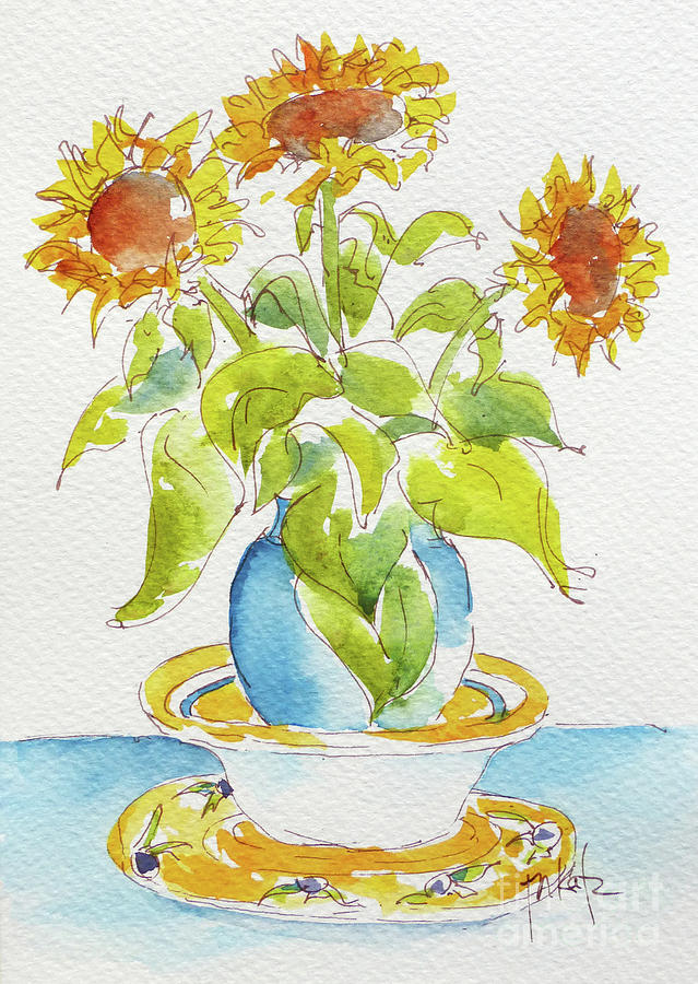 Provencale Sunflowers In Blue Vase by Pat Katz