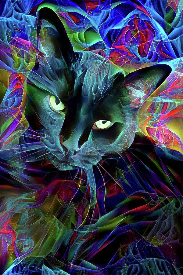 Psychedelic Black Cat Fractal by Peggy Collins