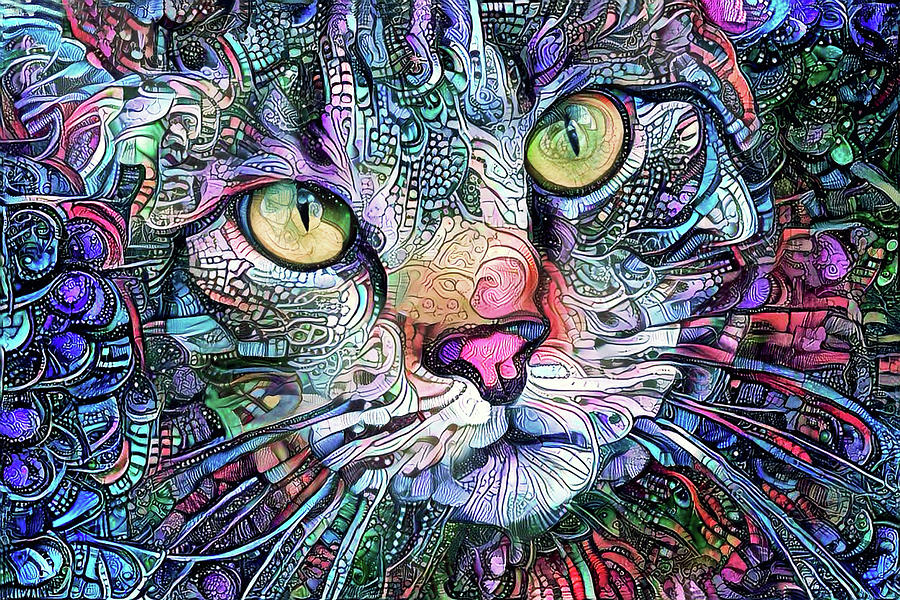 Psychedelic Kitty Cat by Peggy Collins
