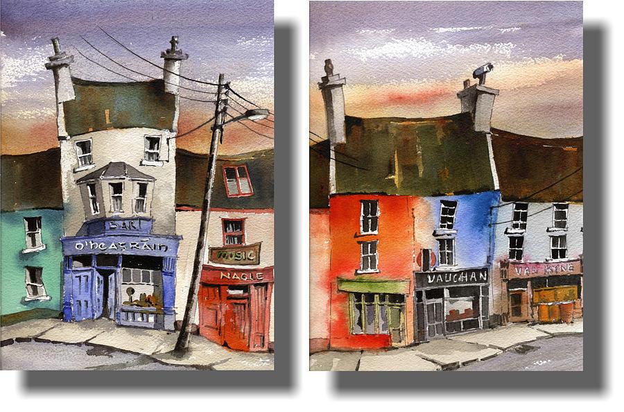 Pub street Kiltymon, Co. Clare by Val Byrne