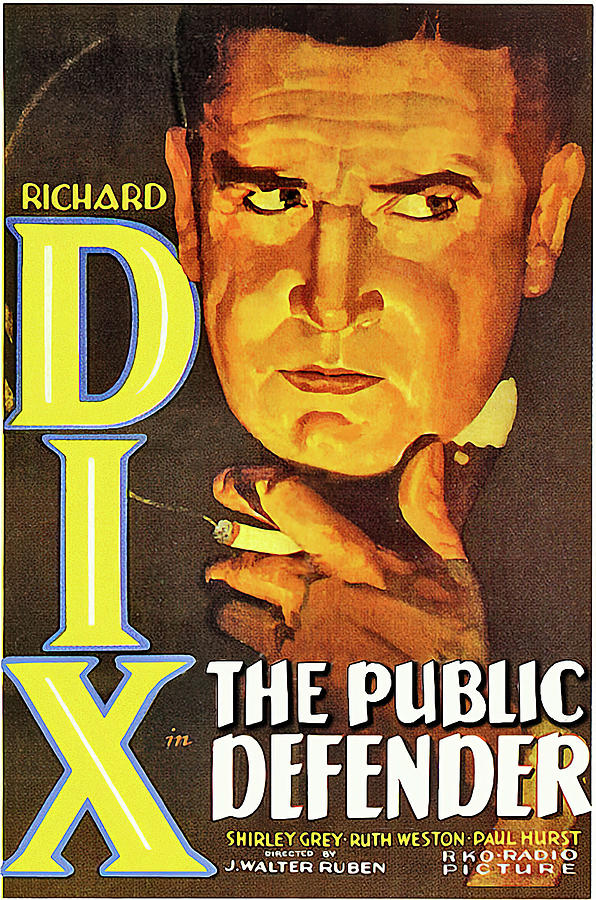 public Defender Movie Poster, With Richard Dix, 1931 Mixed Media