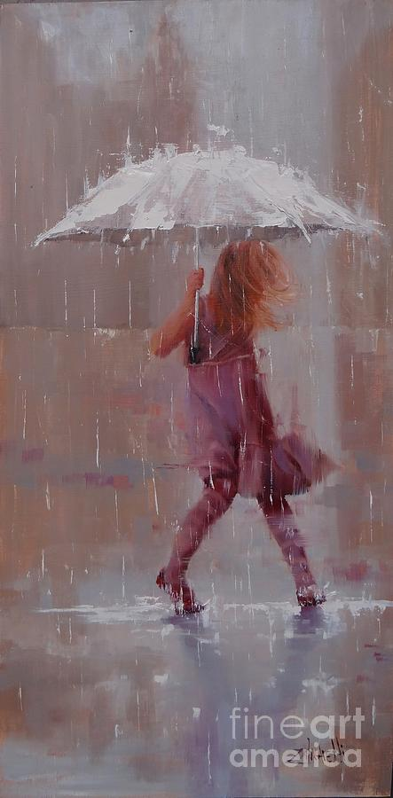 Rain Painting - Puddle Jumper by Laura Lee Zanghetti